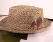 men's hat tiki cocktail mad men lounge size 7 straw cloth dandy Italy punk rocker '50s '60s summer