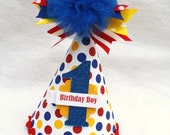 Little Dude birthday party hat in red yellow and blue polka dot primary colors - LittlePinkTractor