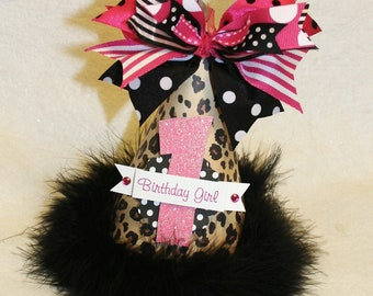 Hot Pink and Leopard Polka Dot Birthday Party Hat