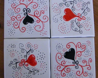 Handpainted Hearts and coils on Set of 4 Tile Coasters