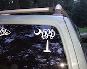 Vinyl Monogram Decal  SC Palmetto Tree and Moon Monogram - 7 inch