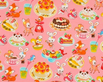 Last One, Japanese, Animal Friends Cooking Sweets in Pink, 15 X 44 inches