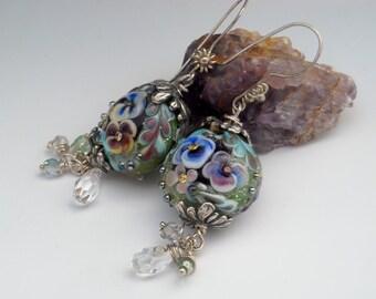Handmade Lampwork Pansy Floral Bead Earrings -- SRA