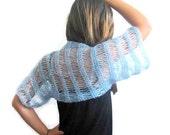 Elegant Shrug,  Bolero,  in Baby Blue, Aqua, Sky Blue, Powder Blue,  Spring Fashion, Trendy,