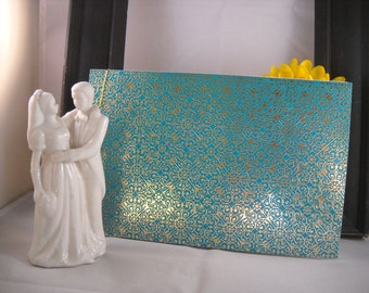 Wedding Guest Book Album - Turquoise Foil Gold