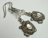 Vintage antiqued silver turtle earrings AB clear swaroski crystal