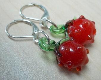 Red glass lampwork strawberry beads earrings