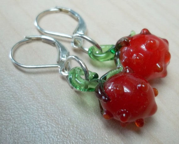Red glass lampwork strawberry beads earrings