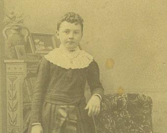 Augusta Maine Victorian Girl Standing in Dress White Collar Cabinet Card Studio Portrait Antique Photo Photograph