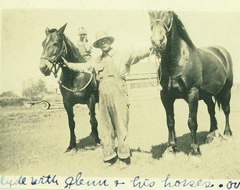 Dodson MT 1930 Ranch Photo Clyde Glenn with his horses Vintage Photograph Picture Snapshot