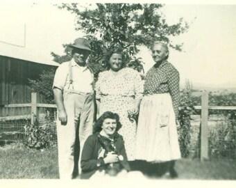 Farm Family 1930s 40s Sitting Holding Dog Dress Apron Grandmother Farmer Vintage Antique Photo Photograph
