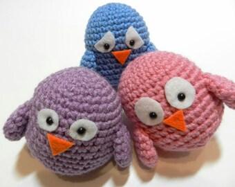 Three Little Emotional Birds Amigurumi Stuffed Toys