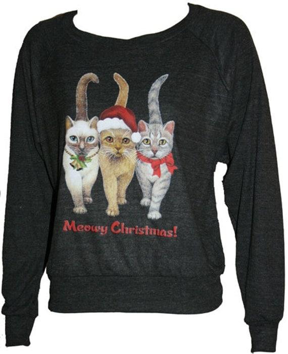 Meowy Christmas Cats American Apparel Slouchy Raglan