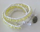 Wrap Bracelet Pale Yellow Glass Beads White Cotton Faux Leather Stylish Trendy Jewelry, Free Shipping