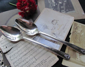 Silverware - Bordeaux 1945 Pattern - Set of 2 Silver Plate Serving Spoons