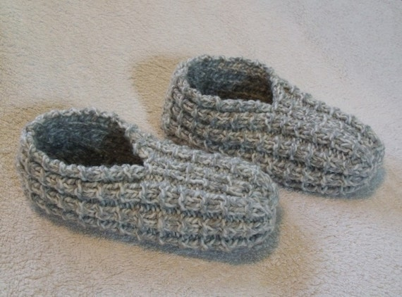 Woman's Sized 6 - 7 Gray and White Slippers - Ready to Ship