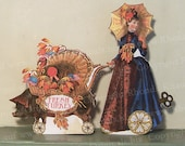 Thanksgiving Steampunk Decoration Digital Paper Doll INSTANT Download - 3D Centerpiece Turkey Lady And Pig  TG3 HP