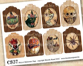 Digital Halloween Tags, Printable Labels INSTANT Download ATC Size Vintage Images Black Cat Skeleton Witch Pumpkin Spider Devil Owls CS37H