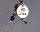"London 2012 Olympics Charms ""Live Your Dream"" Stick Pin - Hat Pin - Scarf Pin KC0218"