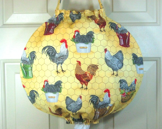 Grocery Bag Holder- Unique Round Design- Robert Kaufman Down on the Farm Chickens Maize- Plastic Bag Holder