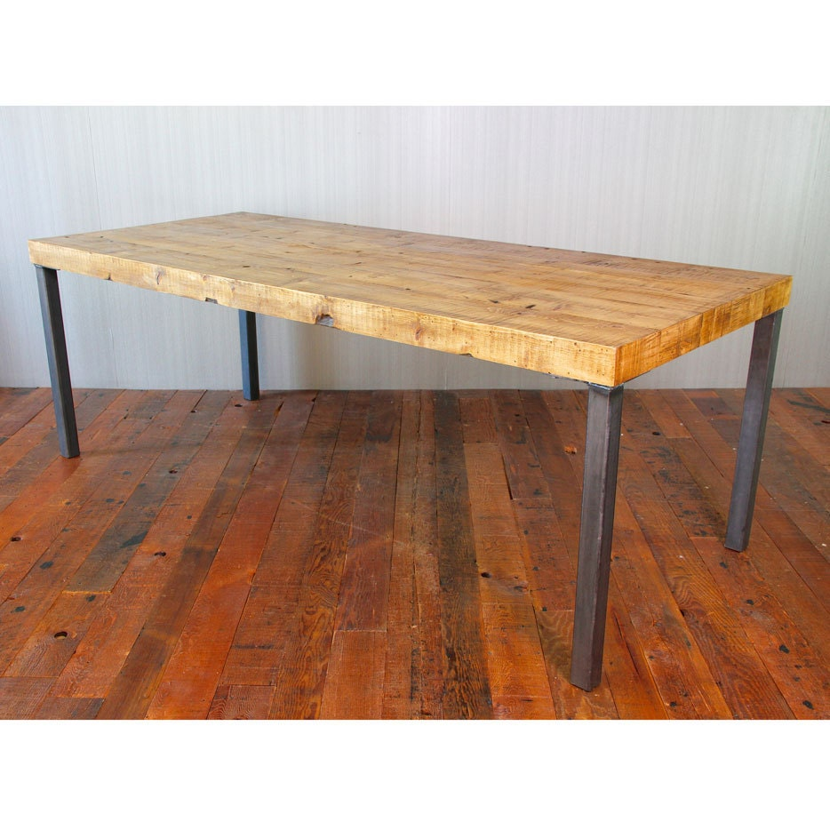 reclaimed wood dining table hudson steel legs by crofthousela. Black Bedroom Furniture Sets. Home Design Ideas