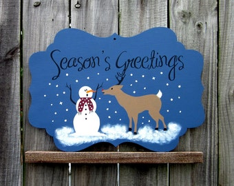 Seasons Greetings, Holiday Sign, Painted Sign, Wooden Plaque, Snowman, Reindeer, Christmas Decor, Holiday, Winter, Blue, Black Lettering