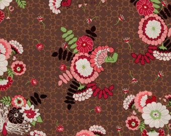 Peacock Lane-  Bouquet in Brown - 1 yard