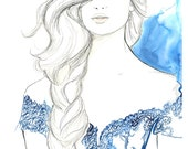 Mixed Media and Watercolor Fashion Illustration - Light as a Feather print