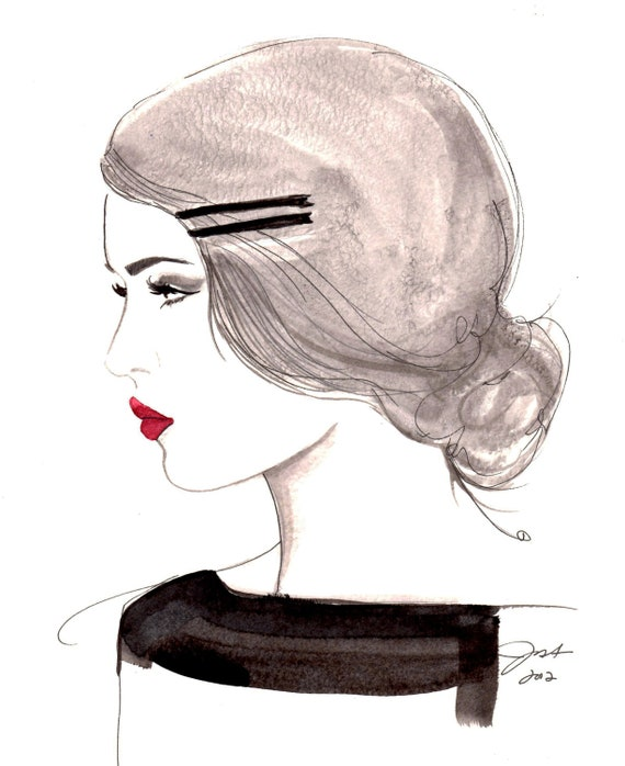 Original watercolor and pen fashion illustration by Jessica Durrant titled, The Girl who loved Vintage