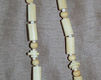 Tribal wood natural necklace earth friendly beads Bohemian sea ocean sand salt life