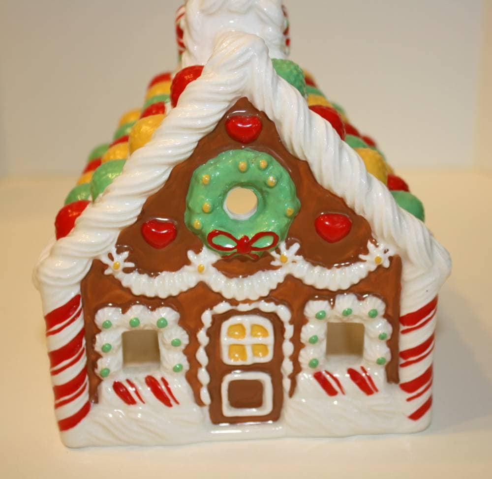 Vintage avon ceramic gingerbread house candle holder for Ceramic house paint