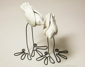 Wedding Cake Toppers - Whimsical Ceramic Love Birds on Wire Legs - Made to Order
