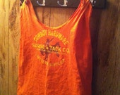 Upcycled T shirt tote bag grocery sack orange cowboy hardware horse and tack Co. western