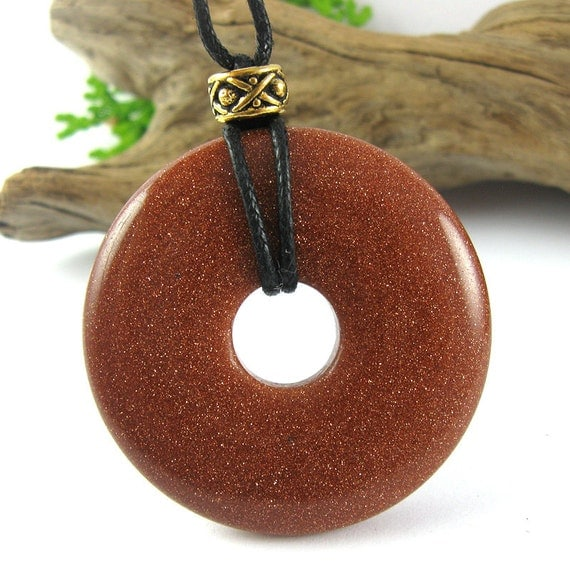 Gold Dust Nursing Necklace - 40mm Goldstone Breastfeeding Necklace