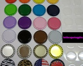 25 pc Clear  1 INCH Epoxy Resin  Adhesive Circles Bottle Cap Seal Stickers and 25 FLAT  COLORED Bottle Caps  You Choose Colors