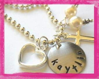 Flower Girl Necklace Personalized for your FLOWER GIRL Hand Stamped Charm Necklace #W814