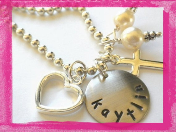 Flower Girl Necklace Personalized for your FLOWER GIRL Hand Stamped Charm Necklace