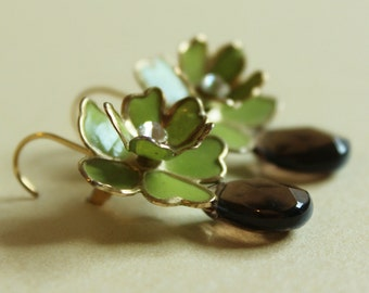 Grassy Green Floral Earrings - Upcycled Vintage Flowers with Smoky Quartz and 14k Gold ((Clara Earrings))