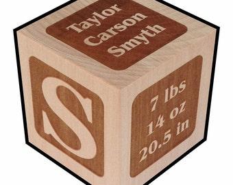 Newborn Gift, Personalized, Baby Block, Classic