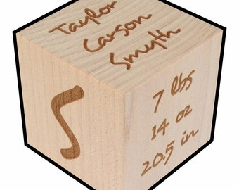 Newborn Gift, Personalized, Baby Block, Freehand style