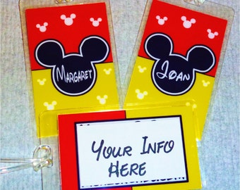 Set of  2  DISNEY Personalized  Luggage Tags MICKEY MOUSE - Your info on a Laminated Mickey Tag for free