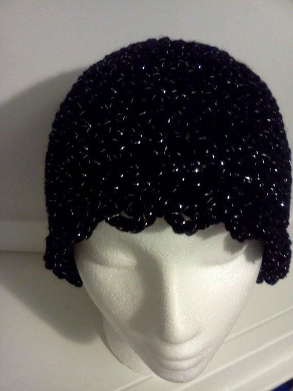 Ladies Hat in Soft Black Sparkles