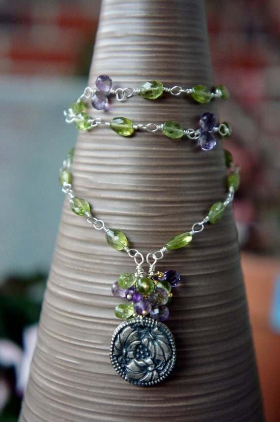 Fine Silver Pendant Necklace with Peridot and Amethyst - Violette