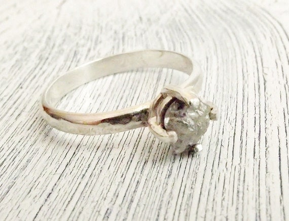 Rough Uncut Diamond Ring Rustic Sterling Silver Size 8