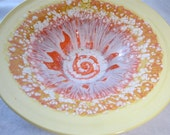 ON SALE Now 95.00 Yellow with Hot Orange and Bursts of White Serving Bowl  Made From Wheel Thrown Pottery (134)