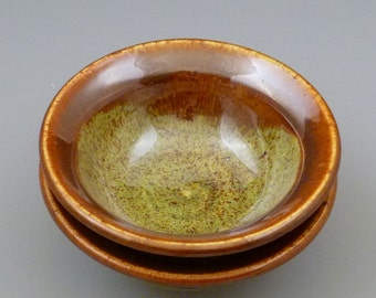 Green and Rusty Brown Dipping Bowls set of two set 2