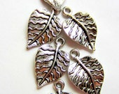 12 silver Leaf Charms jewelry supplies leaf pendants earring dangles 21mm 13mm L888