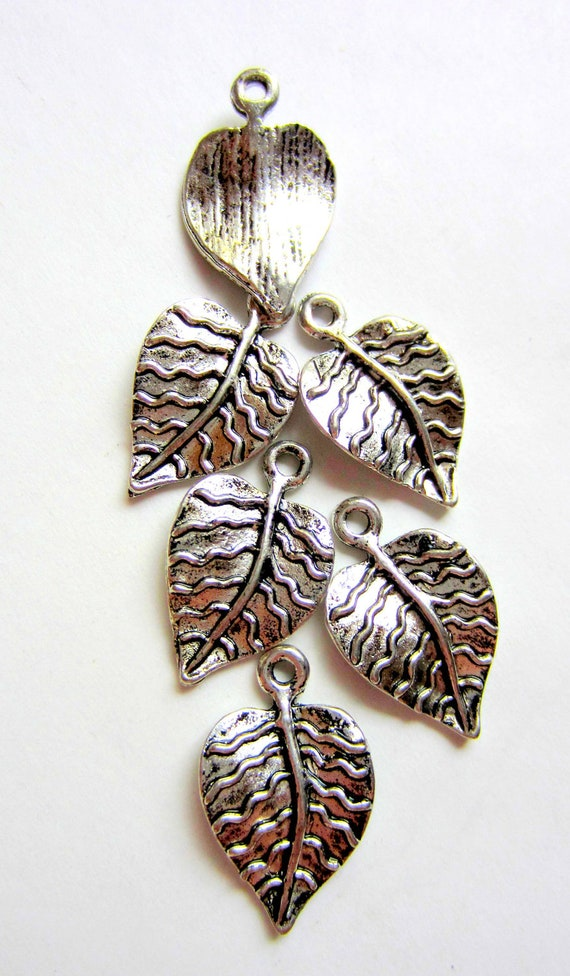 12 silver leaf charms jewelry supplies leaf pendants earring