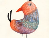 Magical bird  / ORIGINAL ILLUSTRATION / Riding a bike / mustache / Children illustration / Man with a suit and a tie