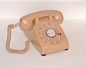 Vintage Completely Functional Beige-Tan Rotary Desk Phone